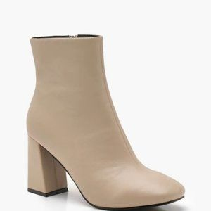 Flared Heeled Nude Ankle Booties